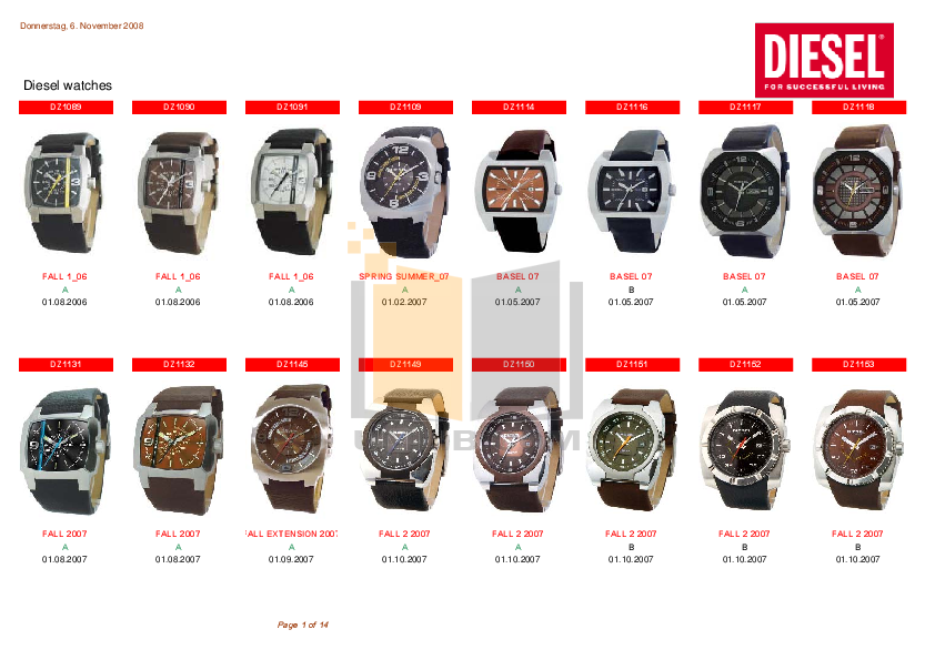 pdf for Diesel Watch DZ1151 manual