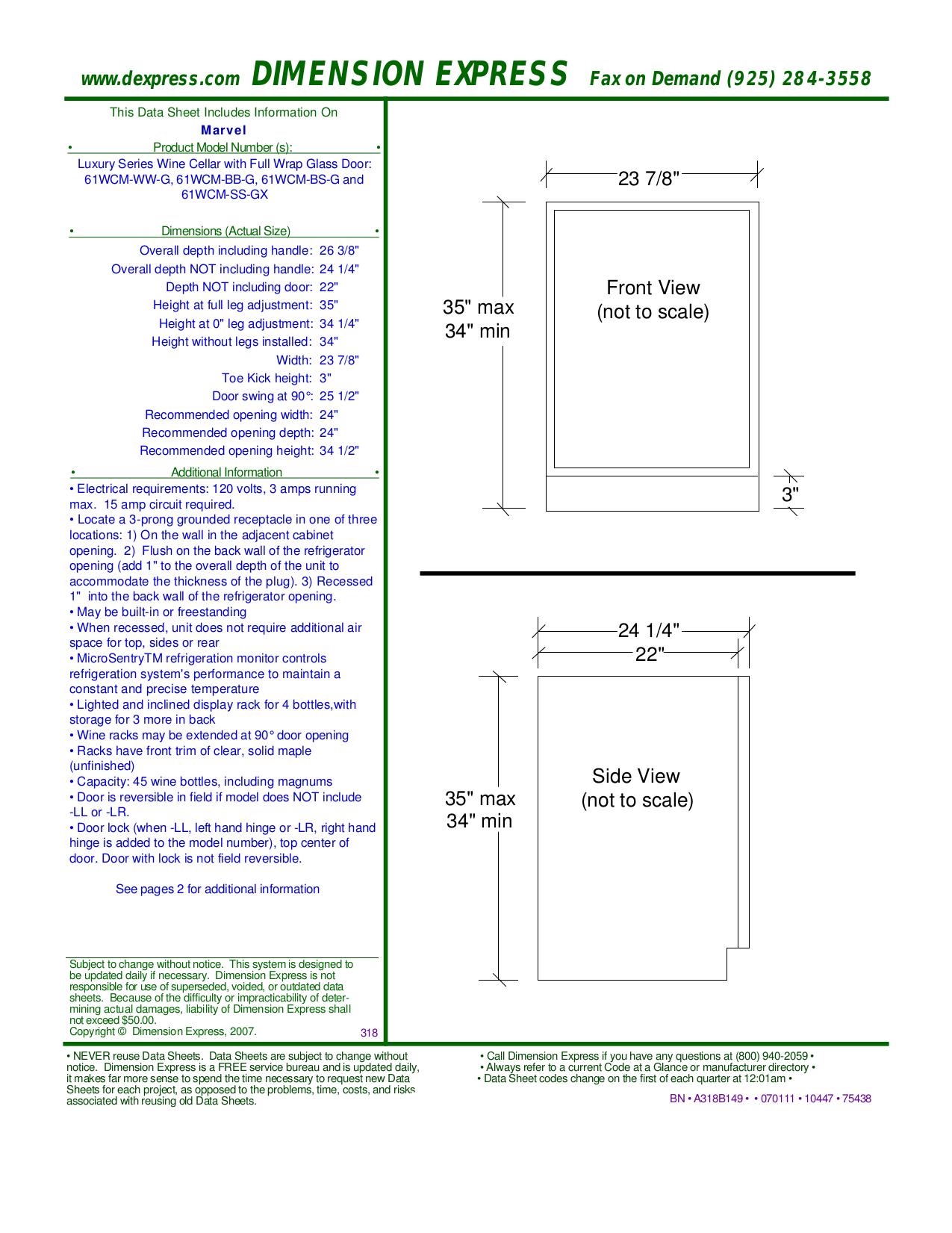 pdf for Marvel Refrigerator 61WCM-BB-G manual