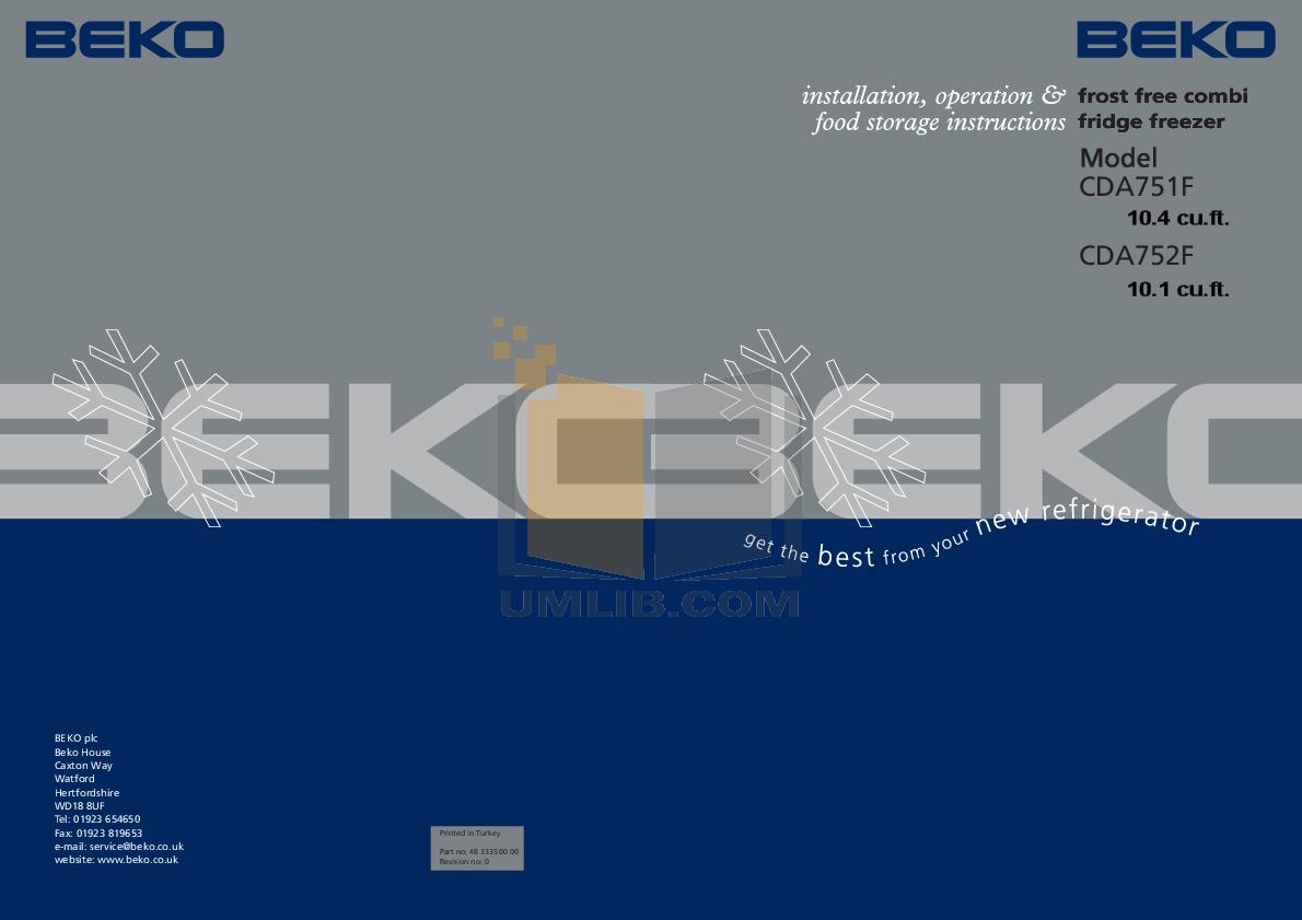 pdf for Beko Refrigerator CDA751F manual