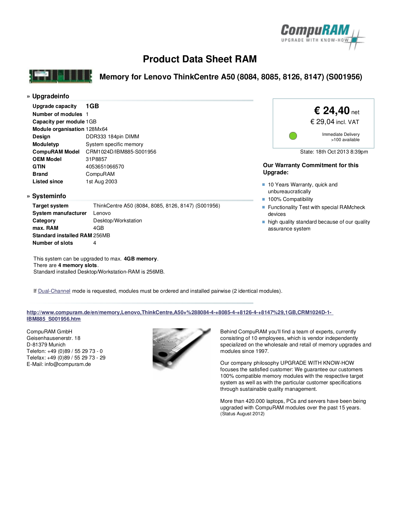 pdf for Lenovo Desktop ThinkCentre A50 8084 manual
