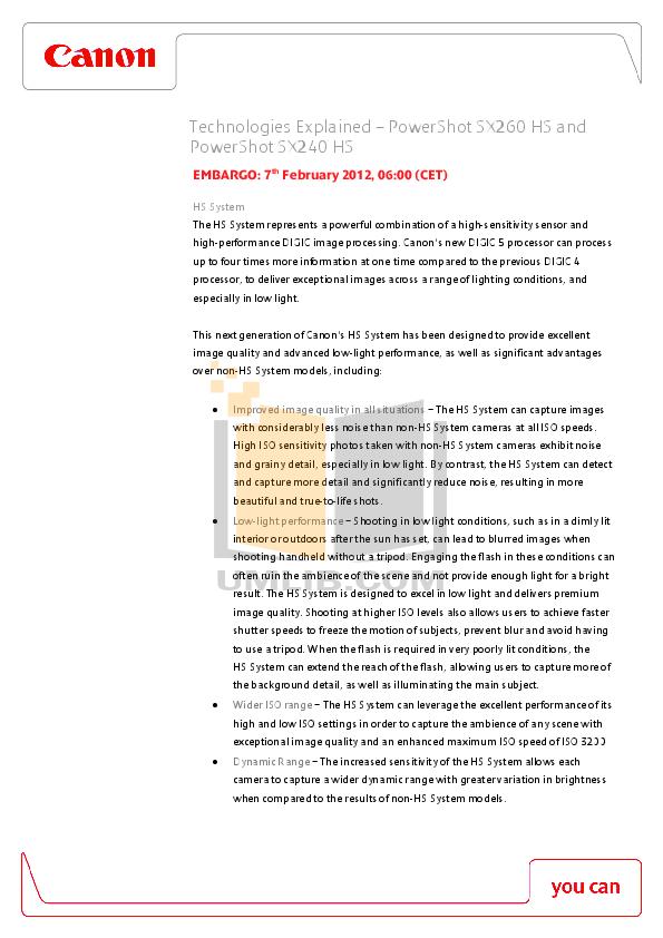 pdf for Canon Digital Camera Powershot SX260HS manual