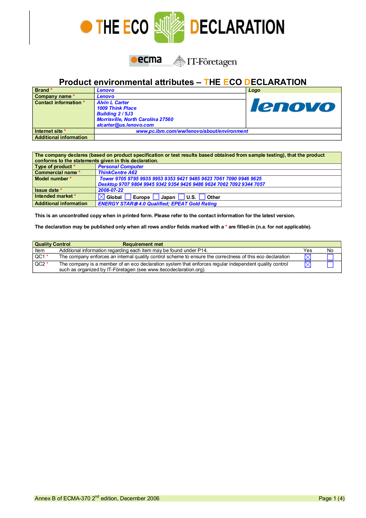 pdf for Lenovo Desktop ThinkCentre A62 9935 manual