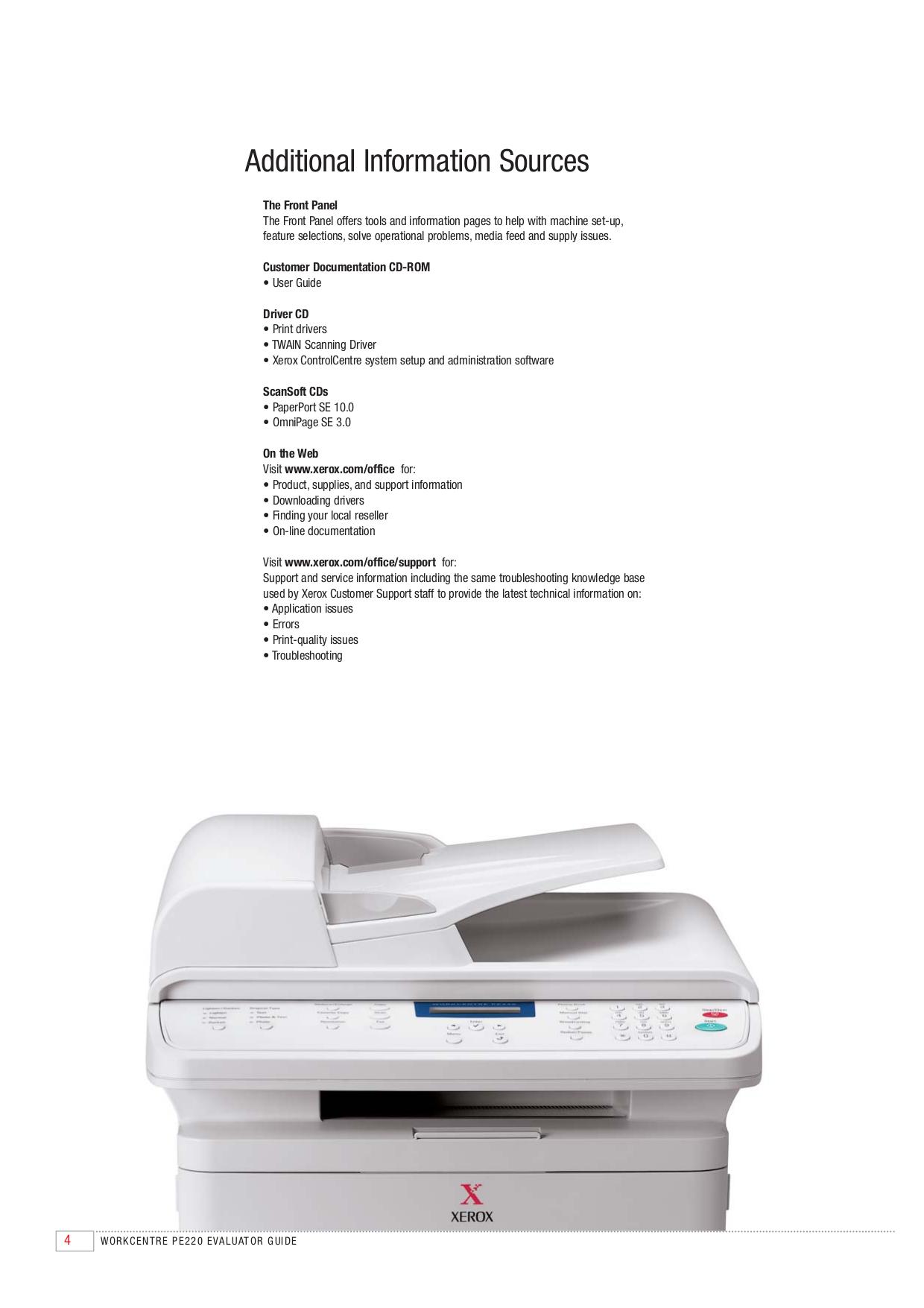 PDF manual for Xerox Multifunction Printer WorkCentre PE220