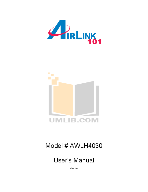 pdf for Airlink Other AWLH4030 Adapters manual