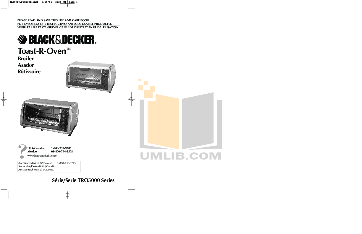 pdf for BlackAndDecker Oven TRO5050A manual