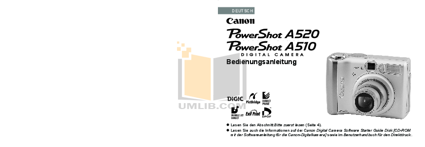 pdf for Canon Digital Camera Powershot A510 manual