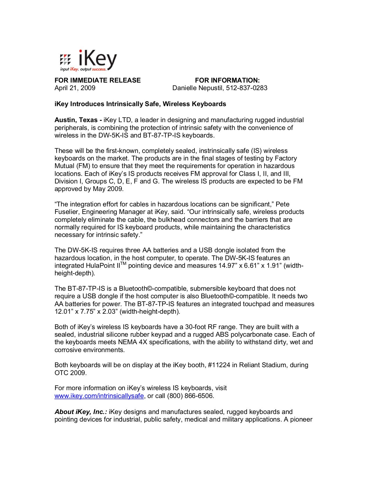 pdf for iKey Keyboard BT-87-TP manual