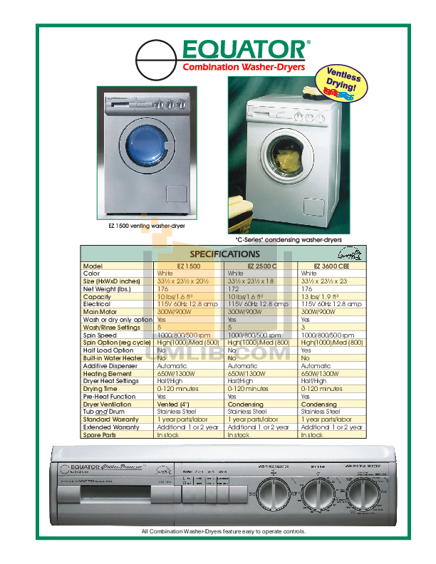 pdf for Equator Washer EZ3600C manual