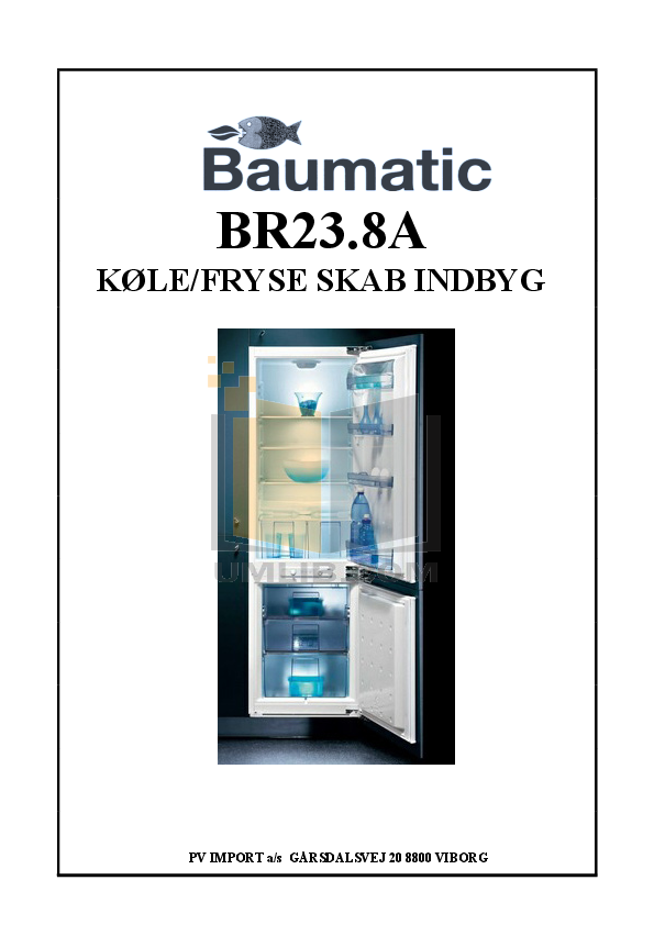 pdf for Baumatic Freezer BR23.8A manual