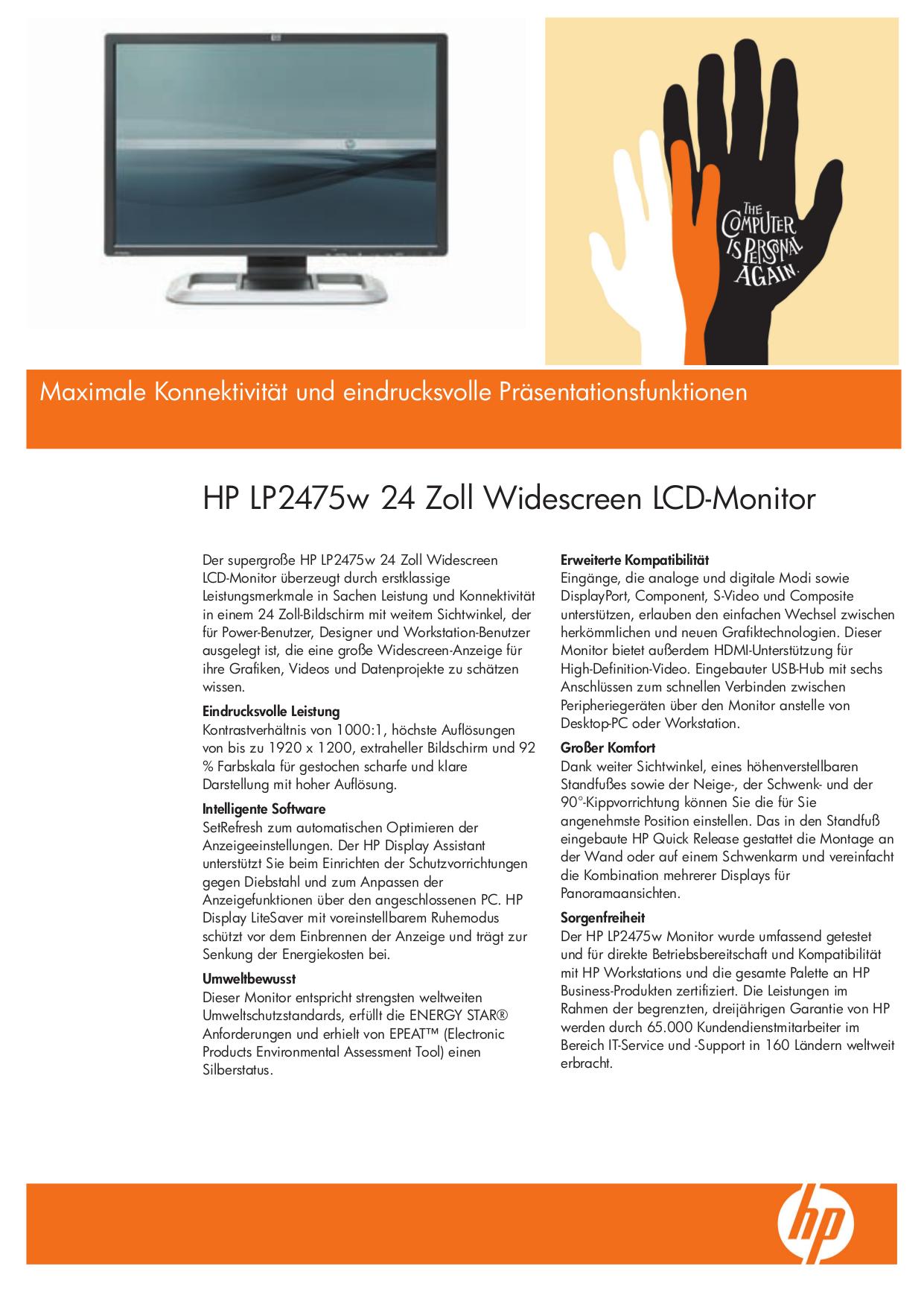 download free pdf for hp lp2475w monitor manual