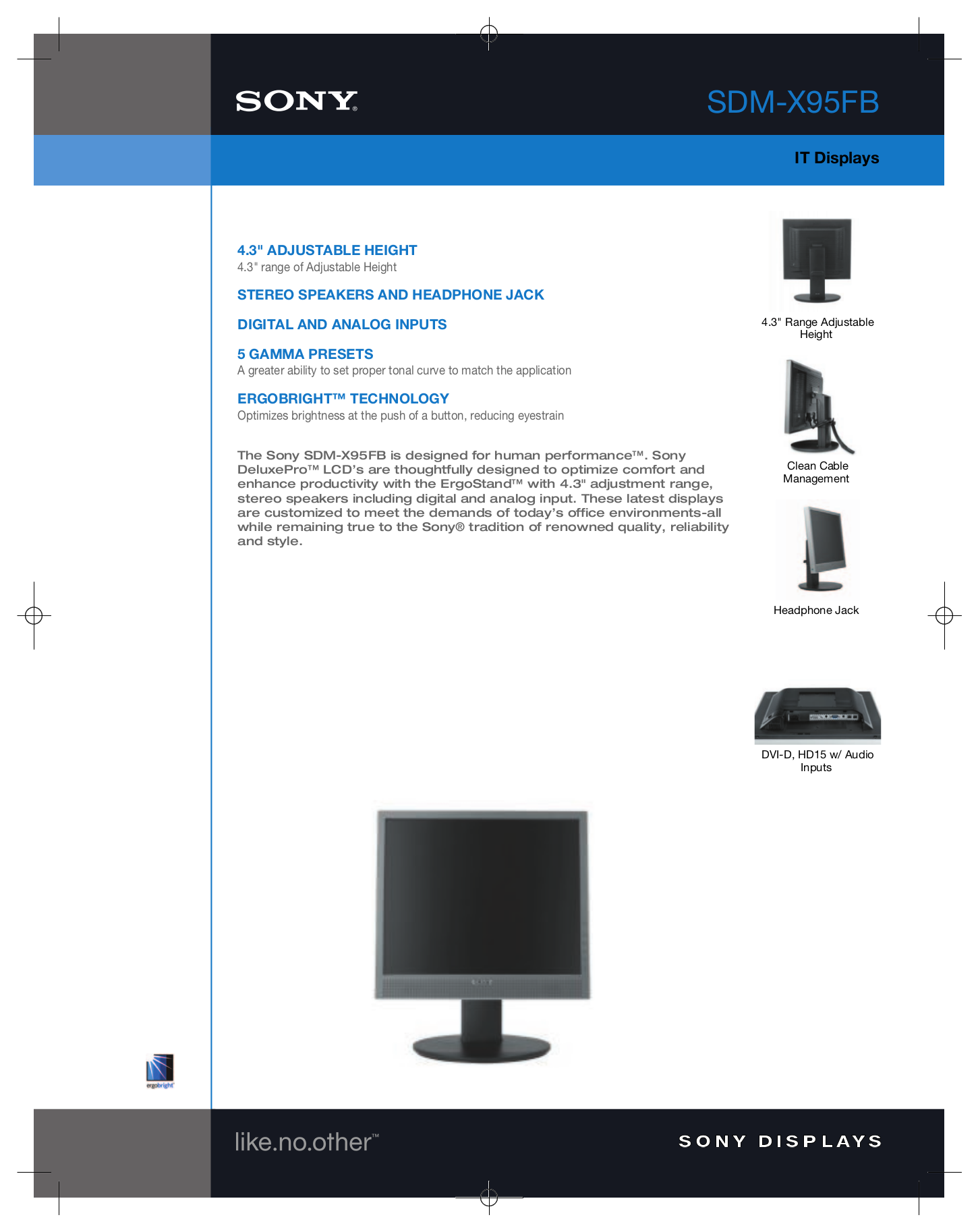 pdf for Sony Monitor SDM-X95FB manual