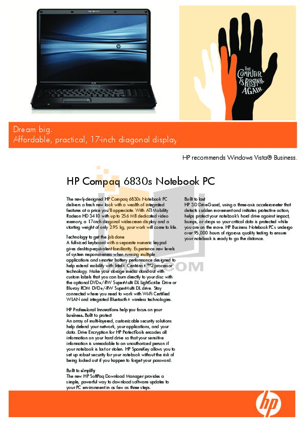 pdf for HP Laptop Compaq 6830s manual