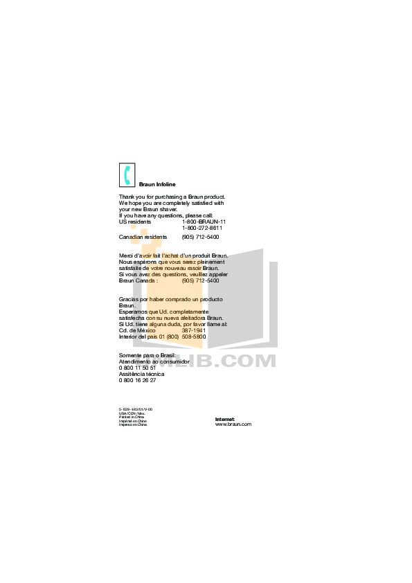 Braun Other InterFace 3612 Shavers pdf page preview