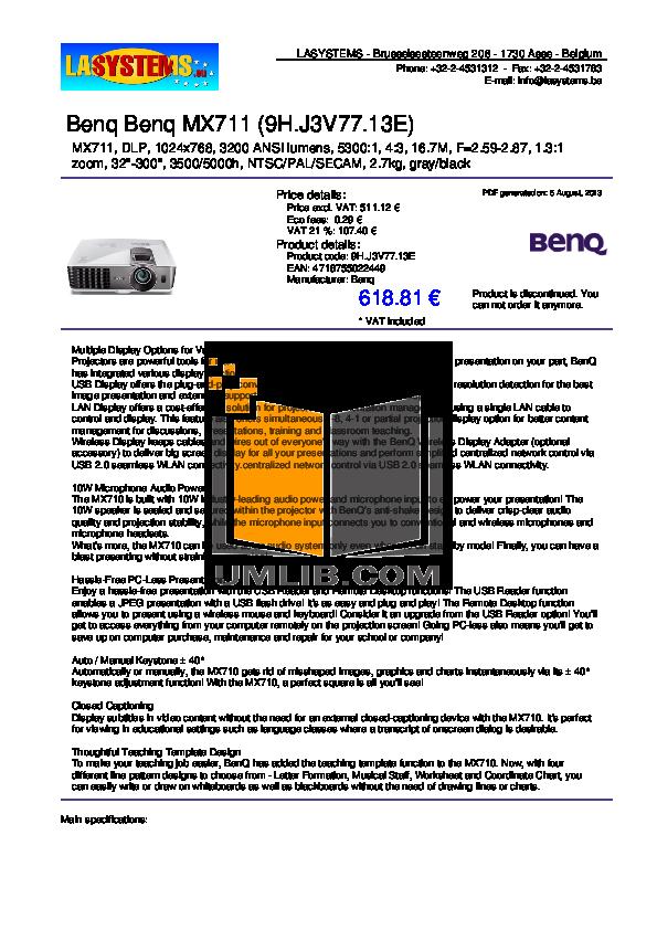 pdf for Benq Projector MX711 manual
