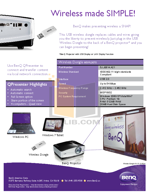 Benq Projector MX711 pdf page preview