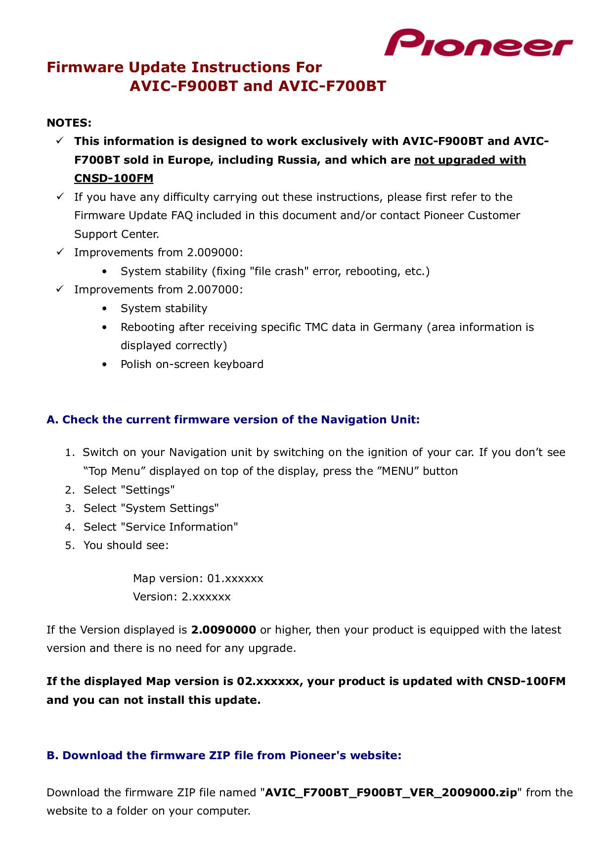 Download free pdf for Pioneer AVIC-F900BT Car Video manual
