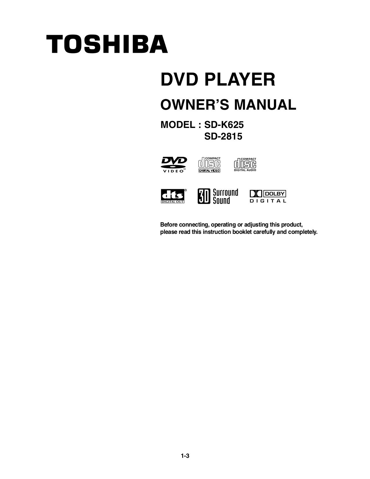 download free pdf for toshiba sd 2815 dvd players manual rh umlib com Toshiba Instruction Manual Toshiba Instruction Manual