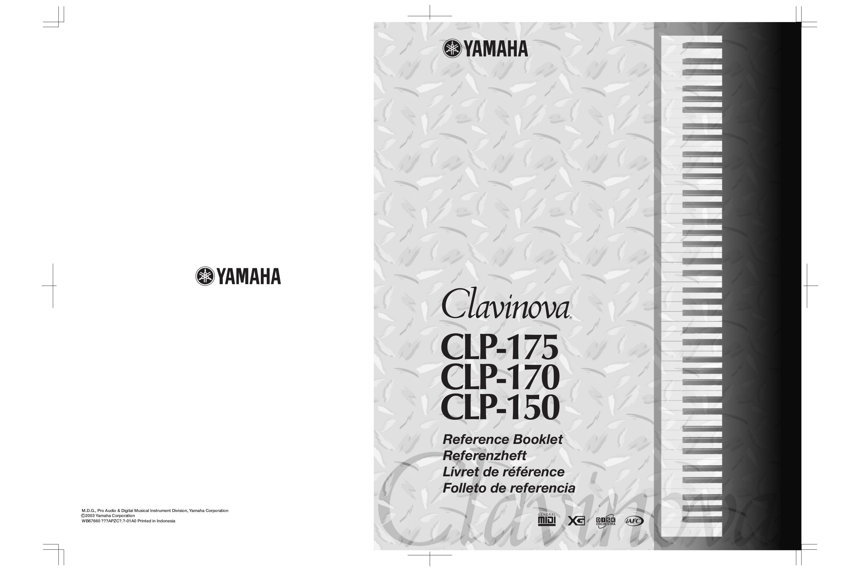 pdf for Yamaha Music Keyboard CLP-170 manual