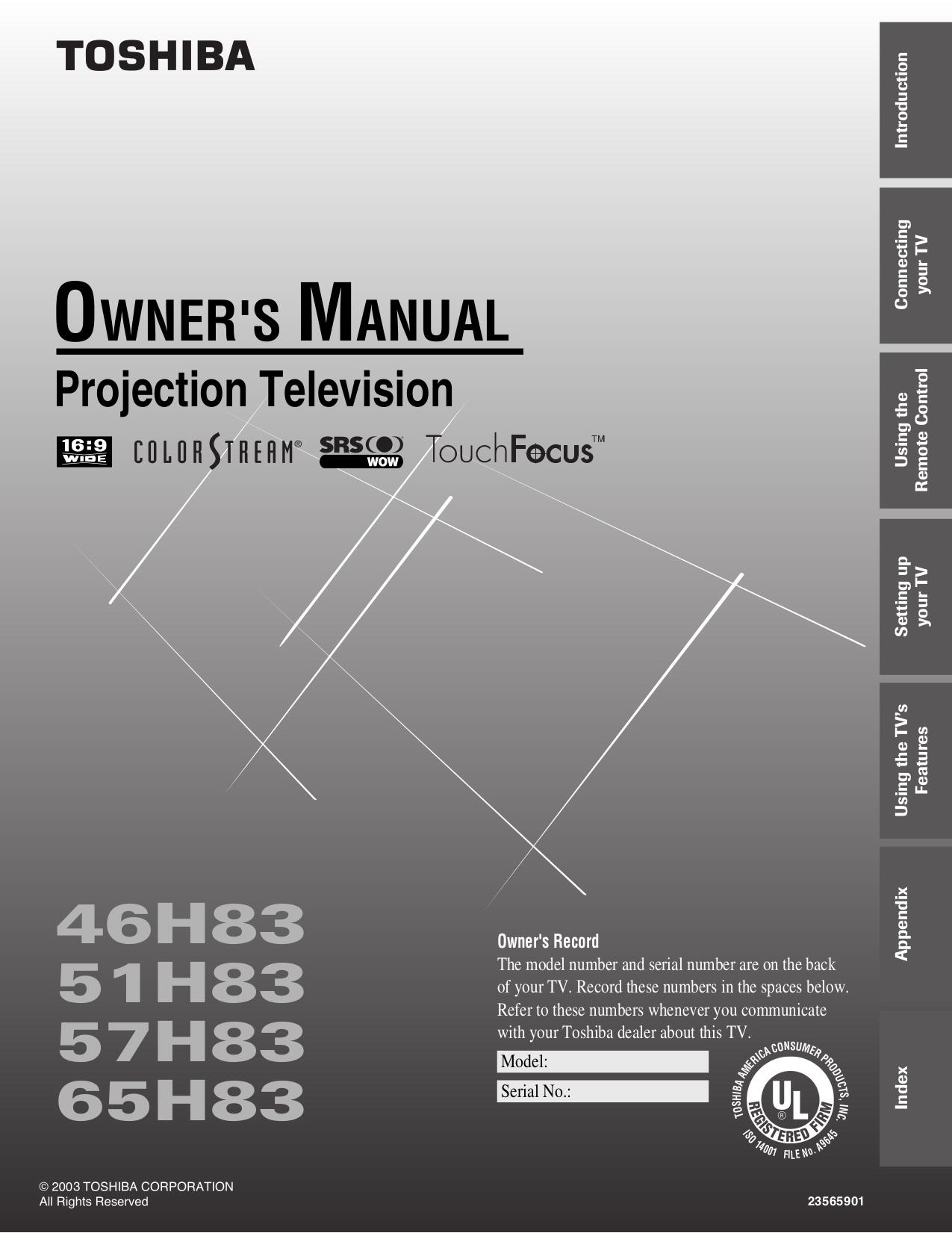"download free pdf for toshiba 51h83 tv manual rh umlib com Toshiba 55"" LCD Toshiba 51 Rear Projection TV"