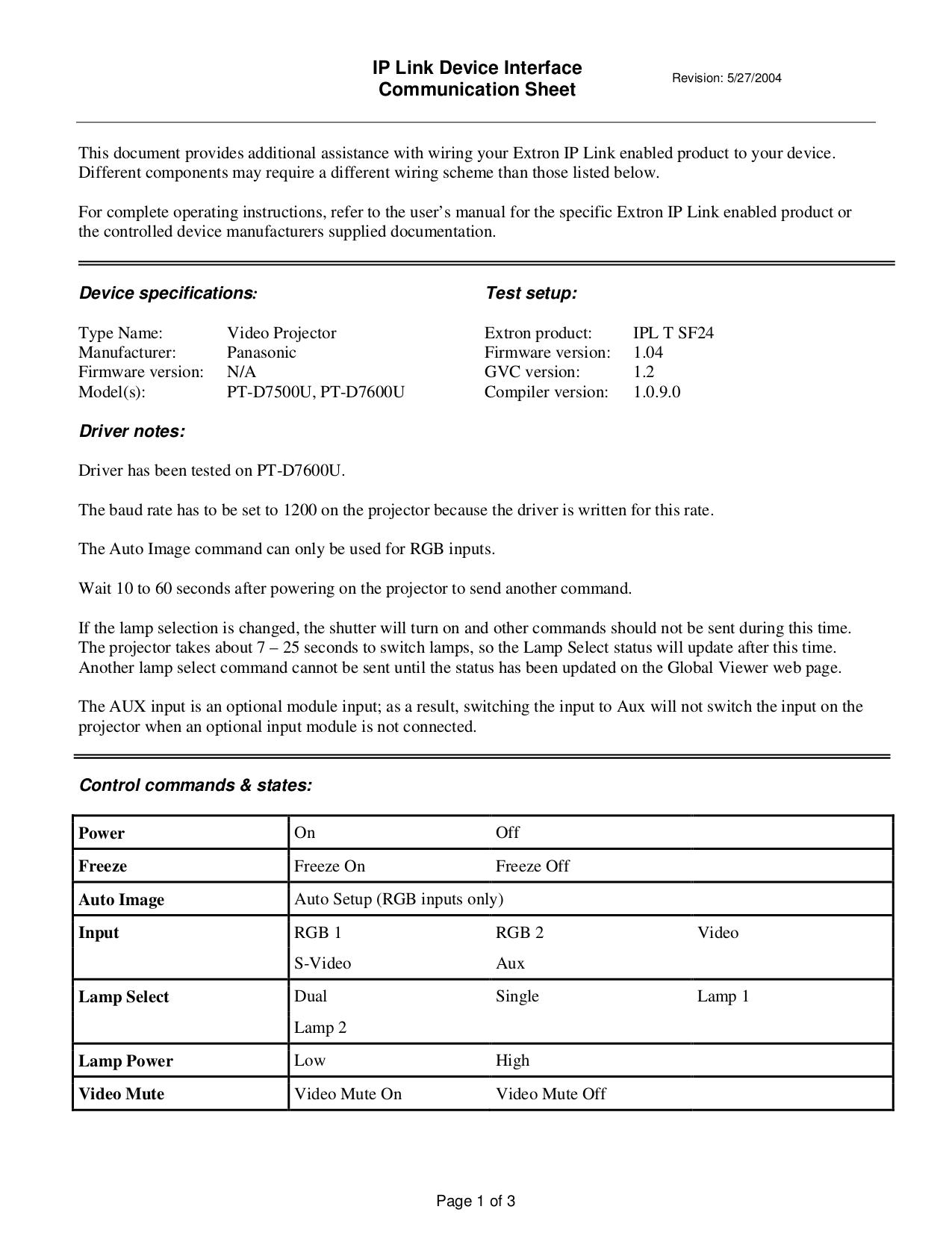 pdf for Panasonic Projector PT-D7500U manual