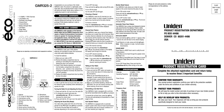 pdf for Uniden 2-way Radio GMR635-2 manual
