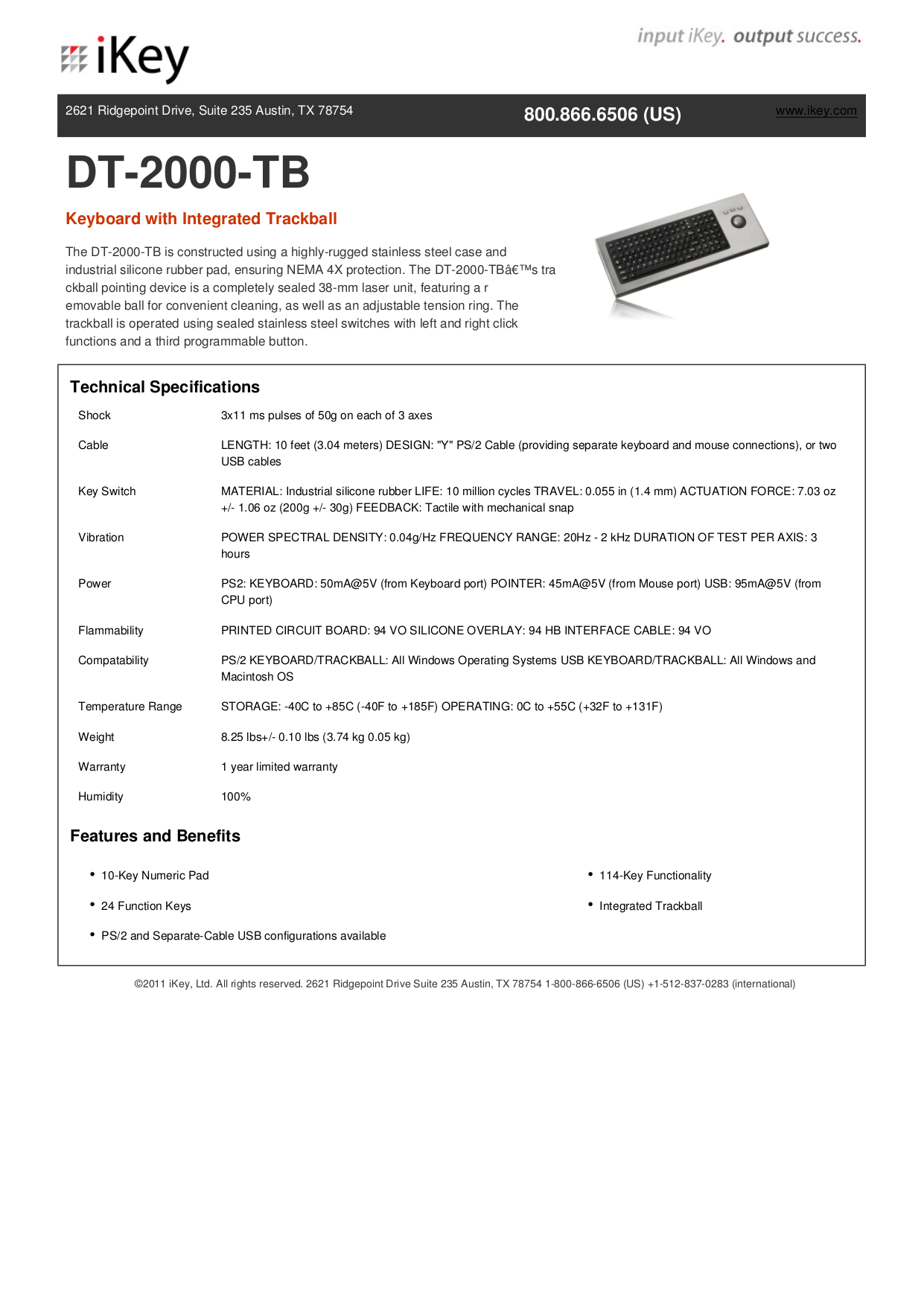 pdf for iKey Keyboard DT-2000 manual