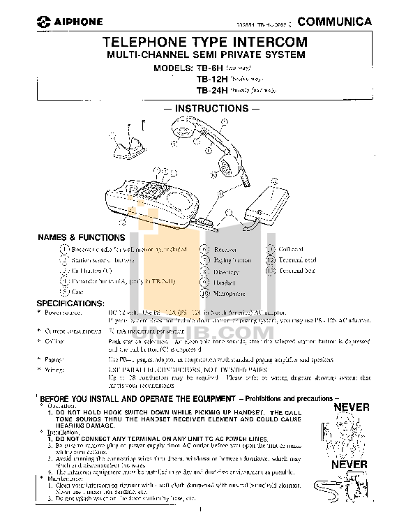 pdf for Aiphone Other KAH-12 Intercoms manual
