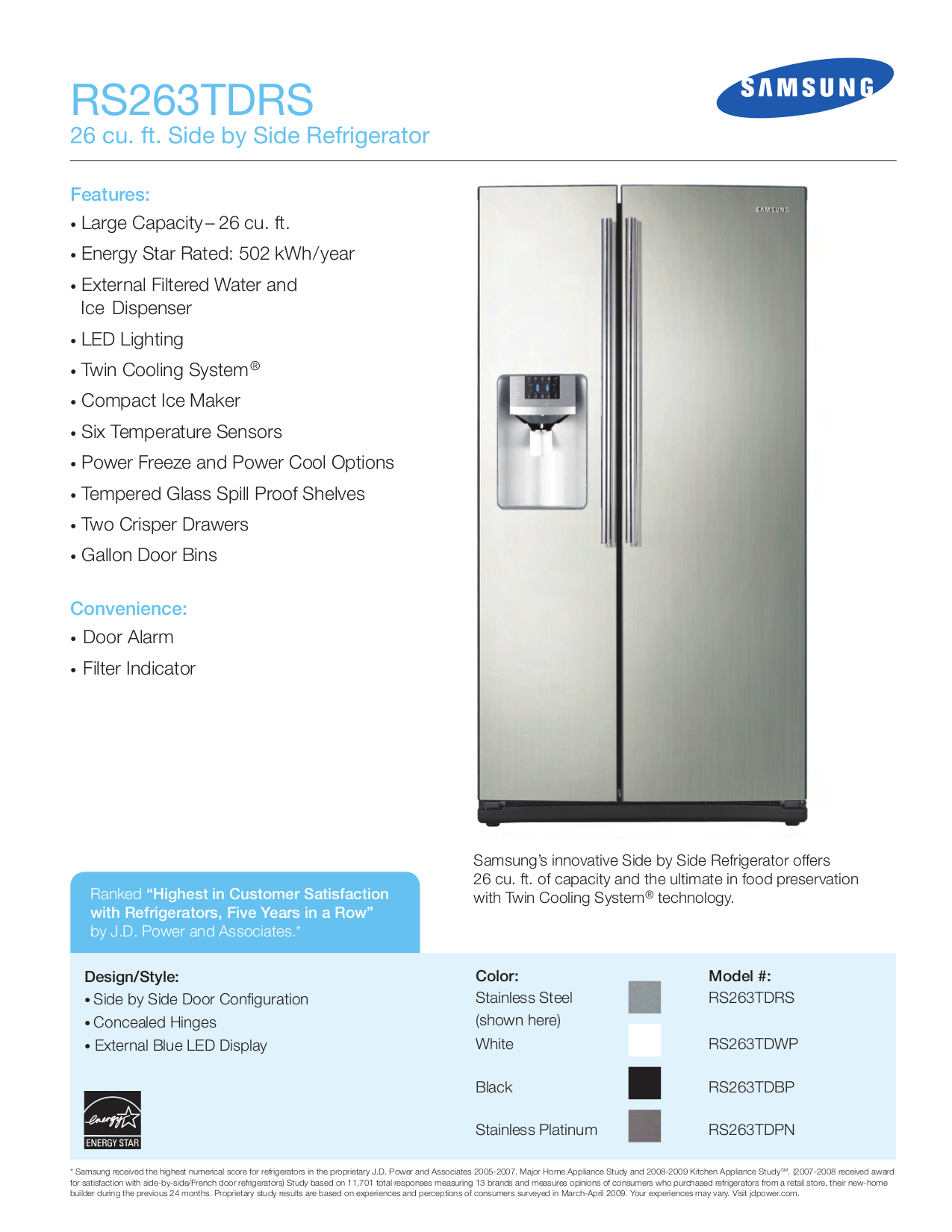 Download Free Pdf For Samsung Rs263td Refrigerator Manual