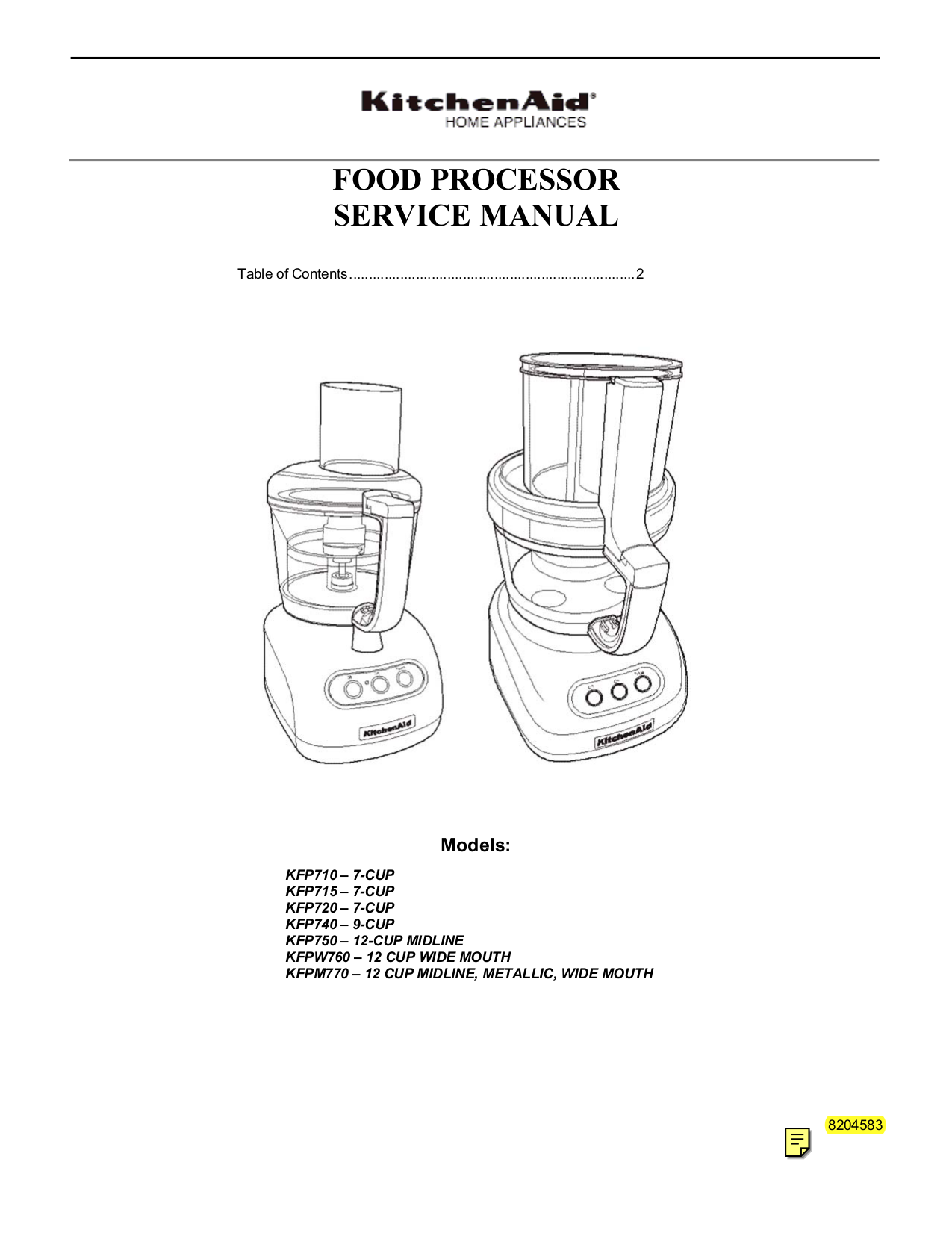 Pdf For KitchenAid Food Processor KFPW760 Manual