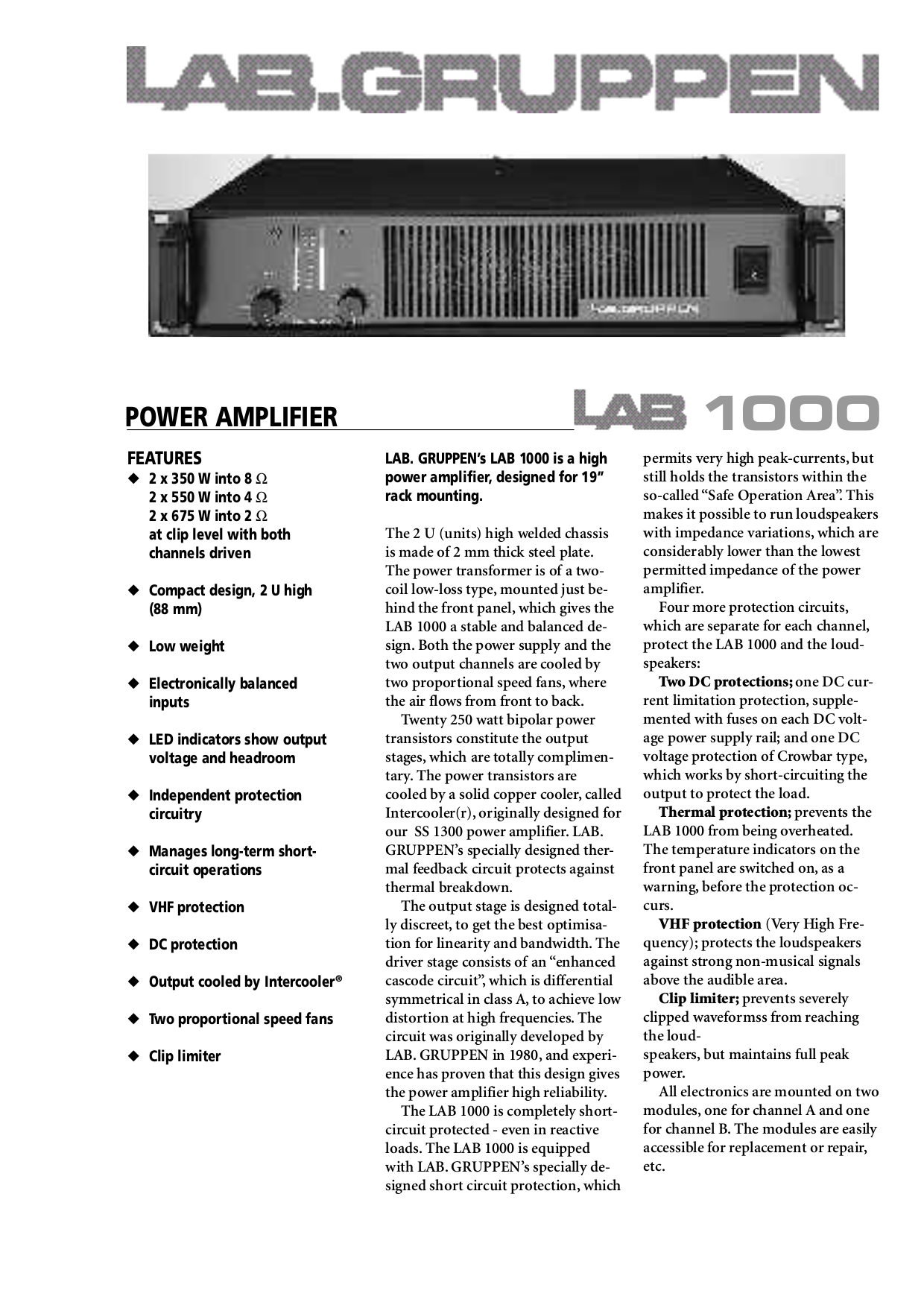 pdf for Lab.gruppen Amp LAB 1200C manual