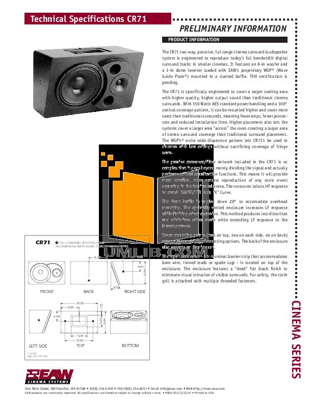pdf for Eaw Speaker System Cinema CR71 manual