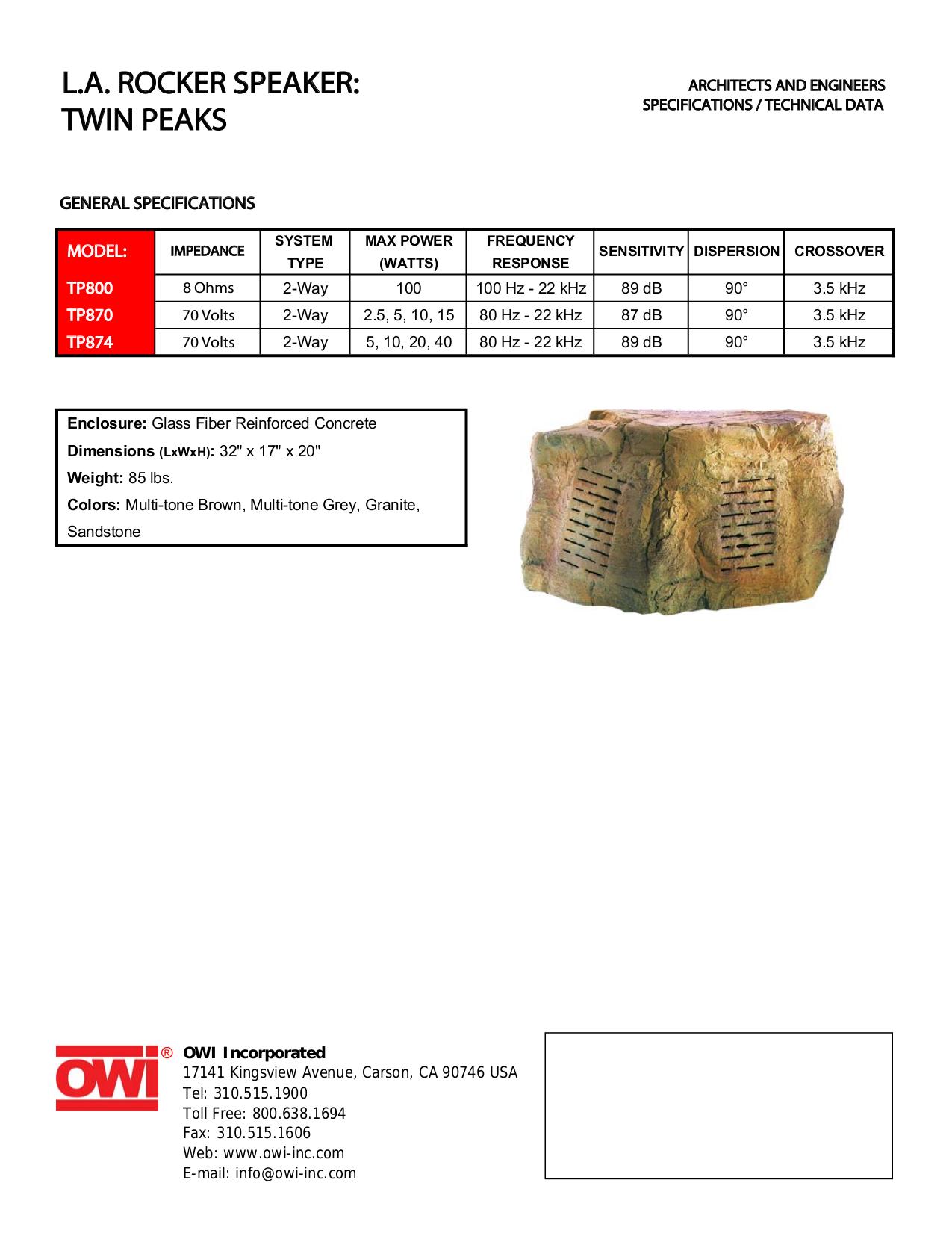 pdf for Owi Speaker TP800 manual
