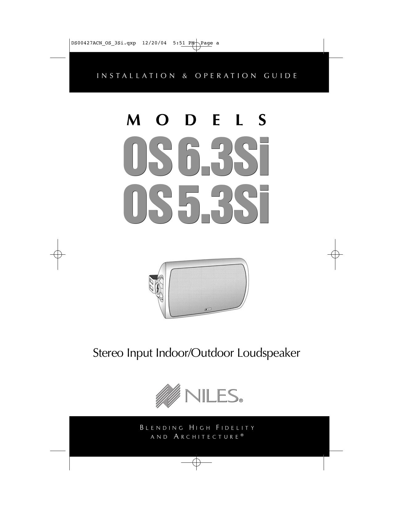 pdf for Niles Speaker OS6.3 manual