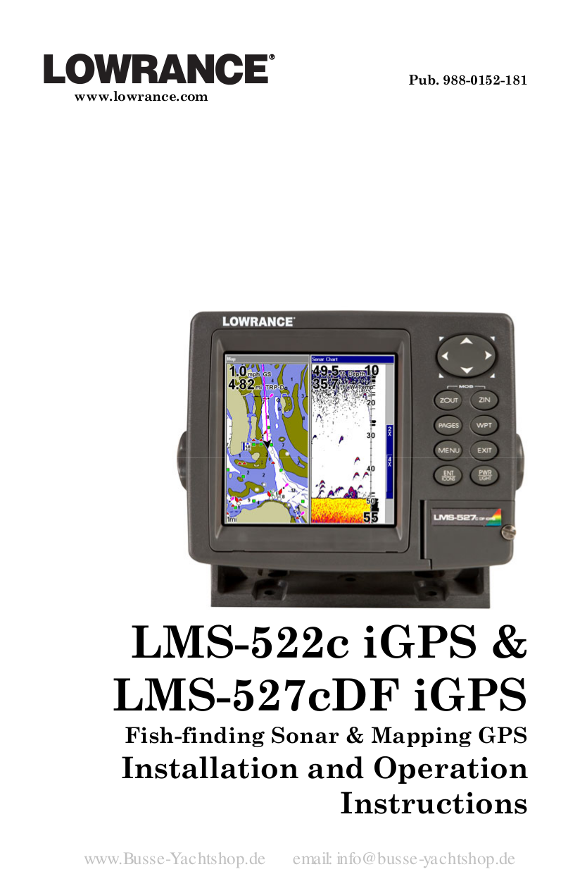 pdf for Lowrance GPS LMS-527C DF iGPS manual