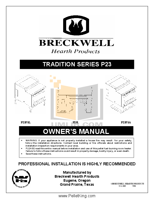 pdf for Breckwell Heating Cooling and Air P23FSL manual