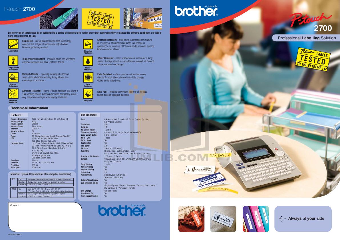 pdf for Brother Printer PT-2700 manual