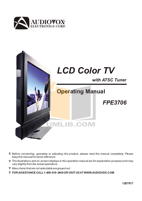 pdf for Audiovox TV FPE3706 manual