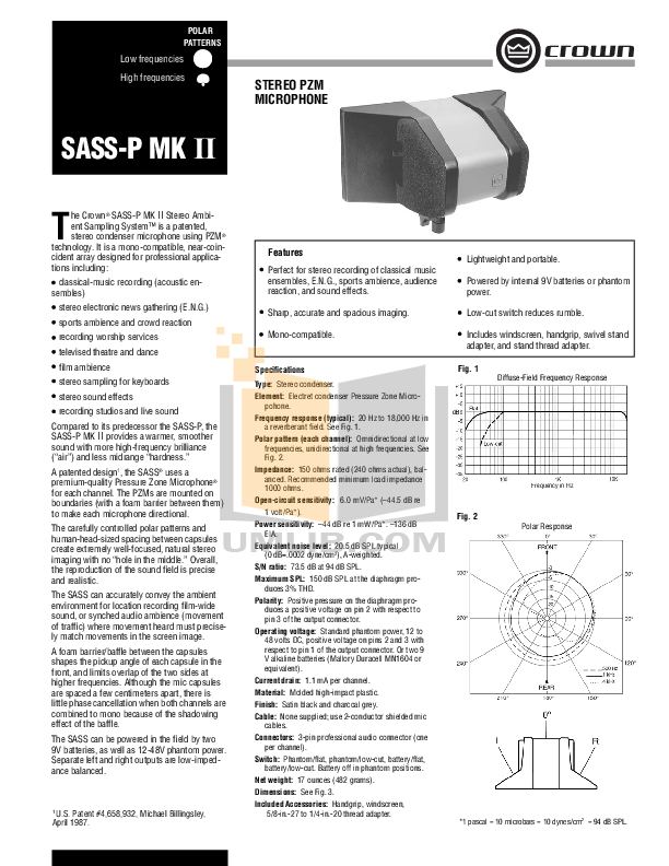 pdf for Crown Other SASS-P Microphones manual
