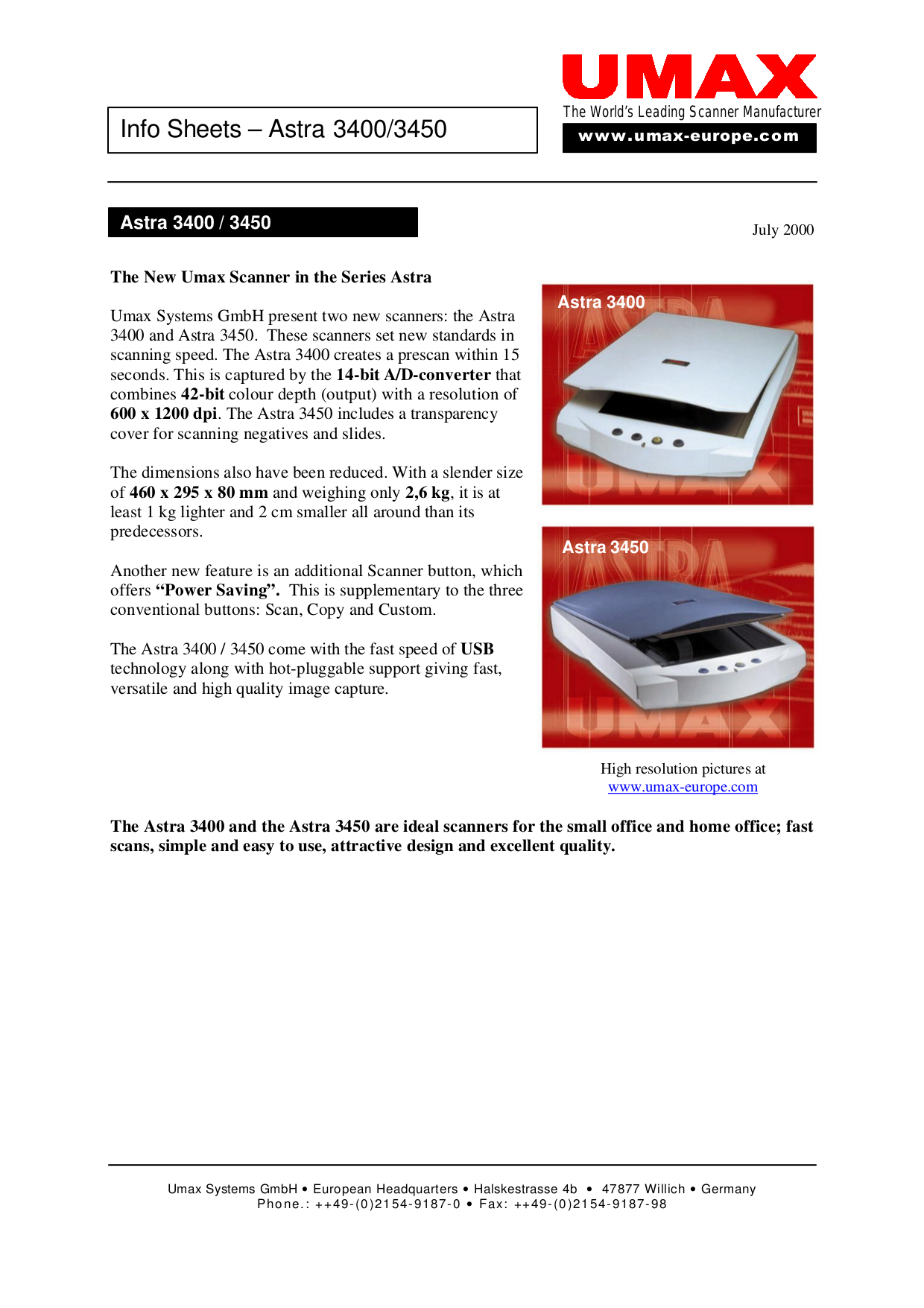 pdf for Umax Scanner Astra 3450 manual