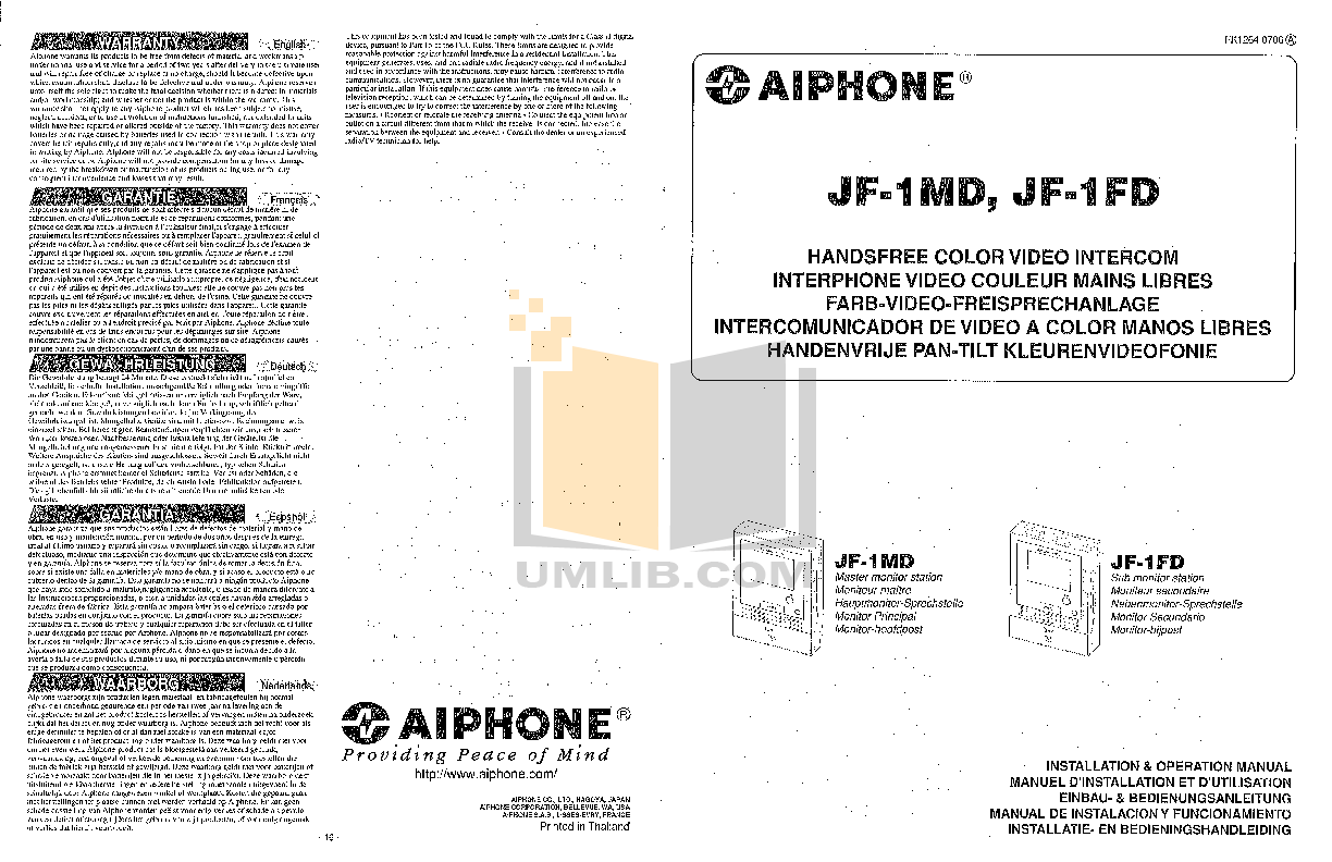 pdf for Aiphone Other TA-3F Intercoms manual