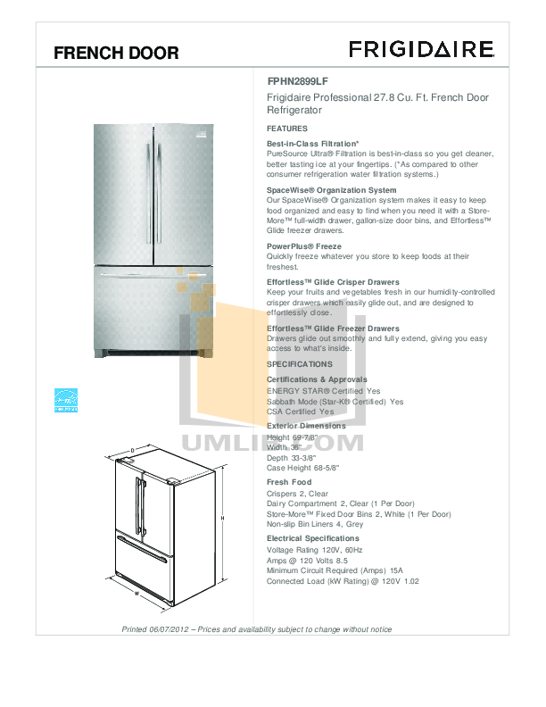 pdf for Frigidaire Refrigerator Gallery FGHF2369MF manual