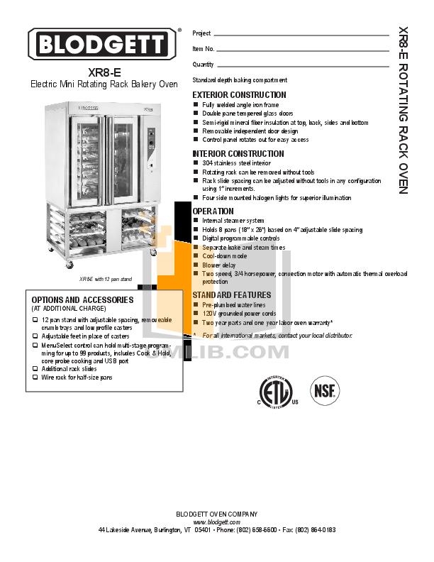 pdf for Blodgett Oven 961 SINGLE manual