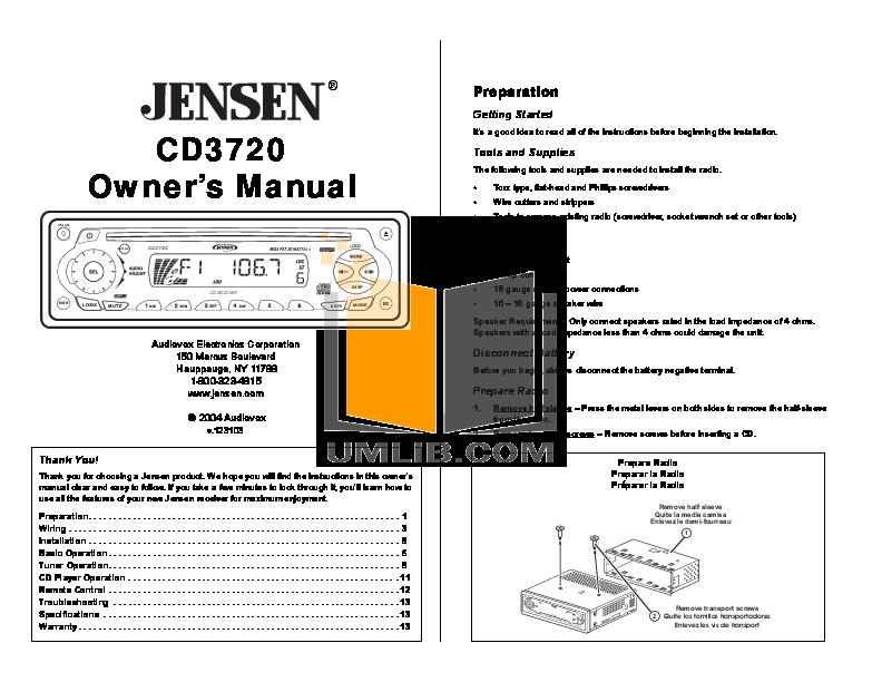 pdf for Audiovox Car Receiver CD3720 manual