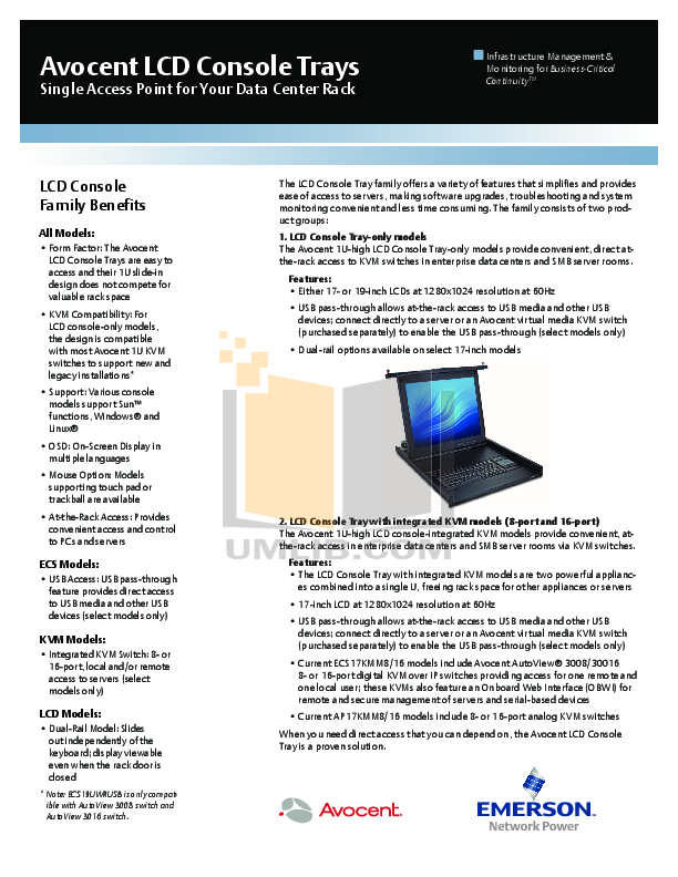 pdf for Avocent Monitor LCD17 manual