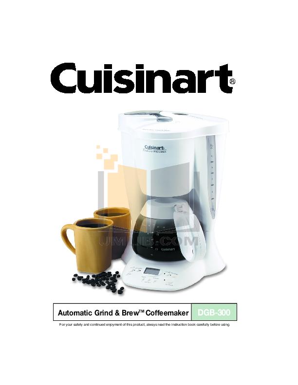 PDF manual for Cuisinart Coffee Maker DGB-300