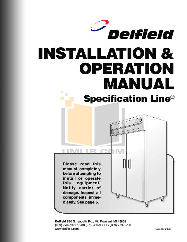 pdf for Delfield Refrigerator SSW1-SH manual
