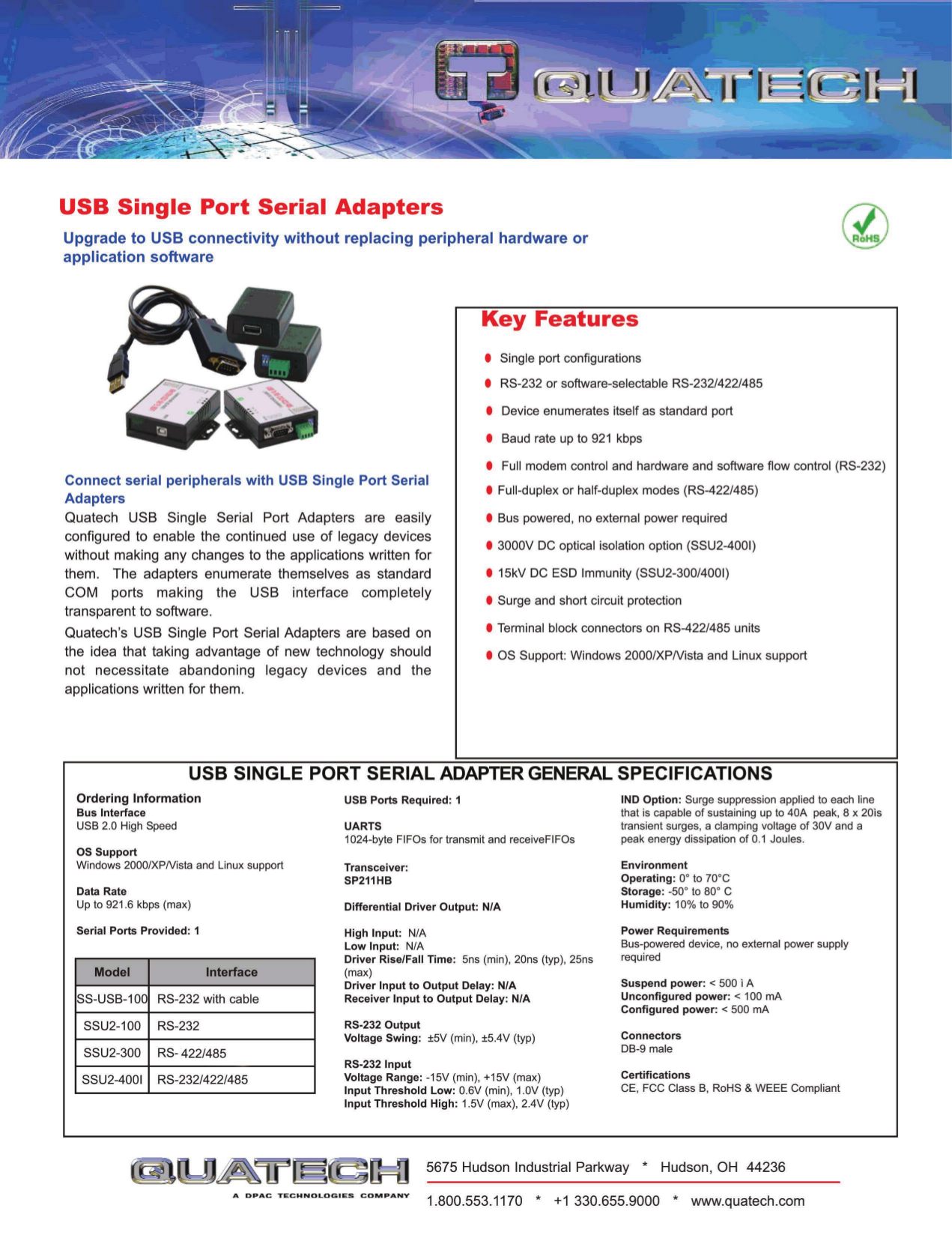pdf for Quatech Other SSU2-300 Adapters manual