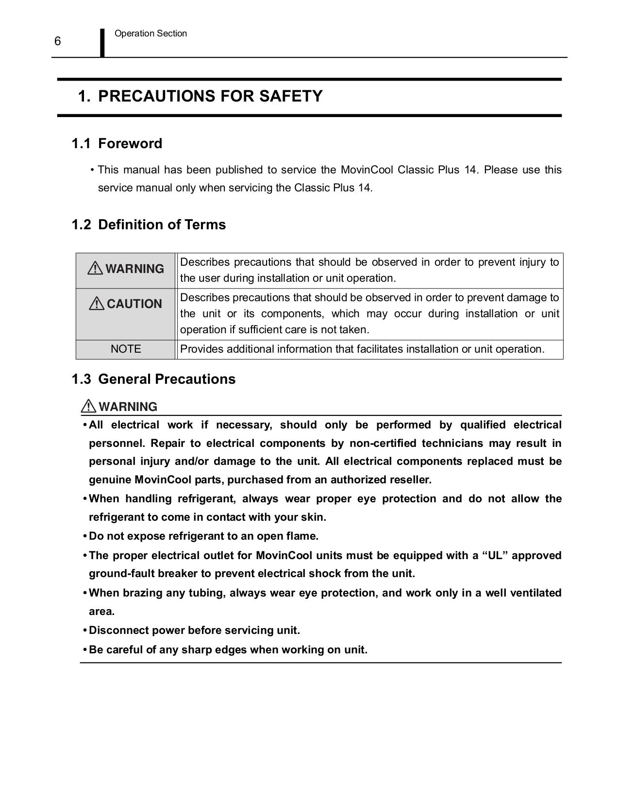 PDF manual for Movincool Air Conditioner Classic Plus 14
