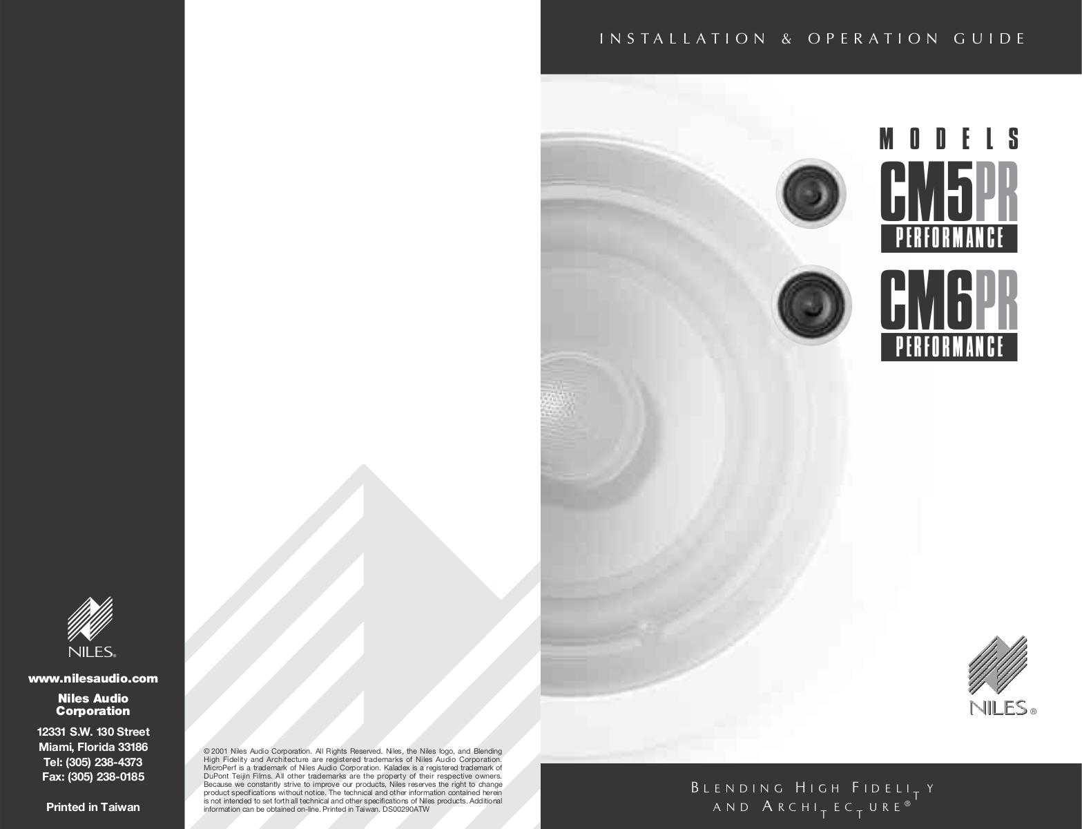 pdf for Niles Speaker CM6PR manual