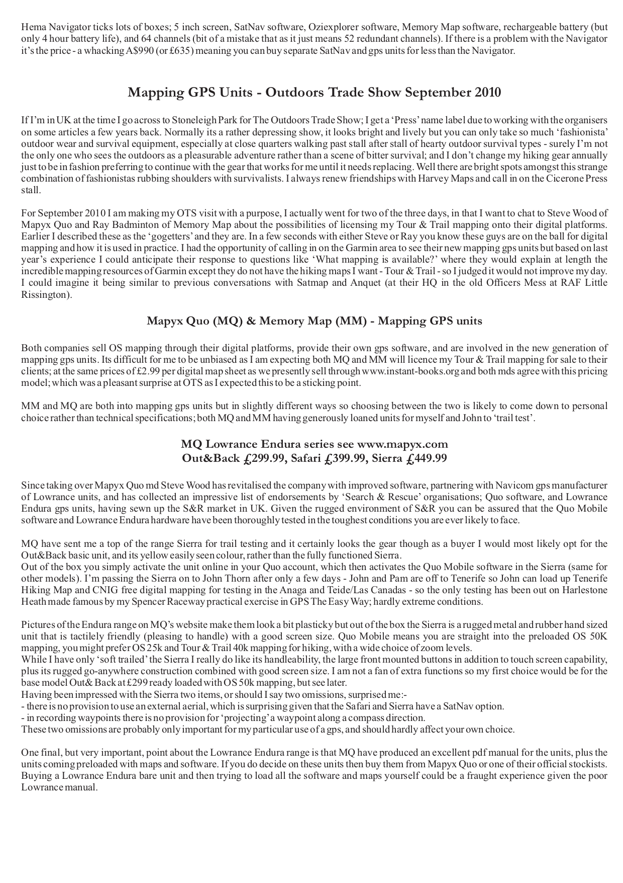Lowrance GPS Endura Sierra pdf page preview